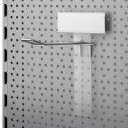 Držák cenovkové lišty s lištou pro háky do děrované stěny