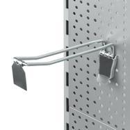 Dvojitý hák do děrované stěny s fixačním zařízením