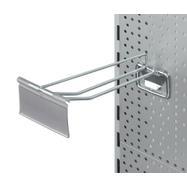 Dvojitý hák do děrované stěny s výkyvným štítkem a kapsou na cenovky