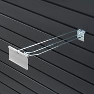 Dvojitý hák do lamelové stěny s výkyvnou kapsou na cenovky