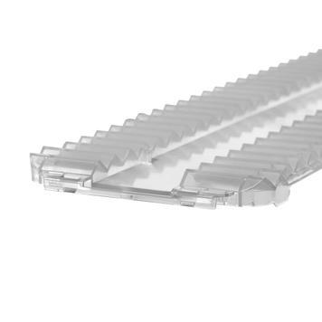 Lišta s vroubky zabraňující sklouzávání výrobků pro systém regálových oddělovačů Perfekta, šířka 95 mm