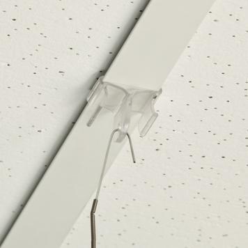 Plastový stropní úchyt, hák 90° do stropních lišt