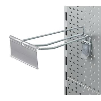 """Dvojitý hák do děrované stěny s fixačním zařízením a výkyvnou kapsou na cenovky """"II"""""""
