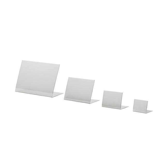 L stojánek z PVC ve formátech A6 až A8 na výšku nebo na šířku