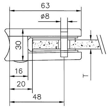 Svorka na sklo pro montáž na trubky o průměru 48,3-50,8 mm / 6, 8 a 10 mm
