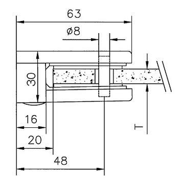 Velká svorka na sklo k montáži na stěnu 6, 8 a 10 mm