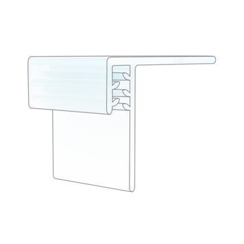 Držák poutače, nalepovací, pro dřevěné, skleněné a kovové police