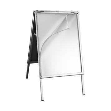 Voděodolný reklamní poutač, profil 32 mm, oboustranný, se zkosenými rohy, stříbrně eloxovaný