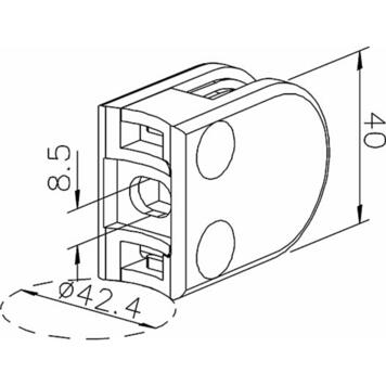 Svorka na sklo k montáži na trubky o průměru 38,1-42,4 mm / 6 a 8 mm